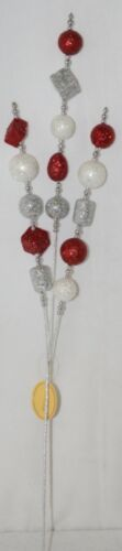 TII Collections Glittery Silver White Red Holiday Round Square Cylinder Spray