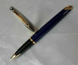 Waterman Carene Deluxe Blue 18kt Medium Nib Fountain Pen Made In France - $297.00
