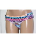 NEW Jessica Simpson Multi Bali Breeze Ruched Tab Side Hipster Bikini Bottom L - $1.97
