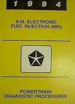 1994 Dodge Ram Truck 8.0L 8.0 V-10 V10 Powertrain Diagnostic Manual 94 - $12.10