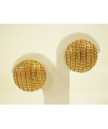 MONET CURB CHAIN STRIPE DESIGN GOLD PLATE BUTTON STYLE CLIP ON EARRINGS ... - $18.80