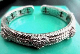 JUDITH RIPKA 925 Sterling Silver Diamonique Pave Heart Hinged Cuff Brace... - $119.95