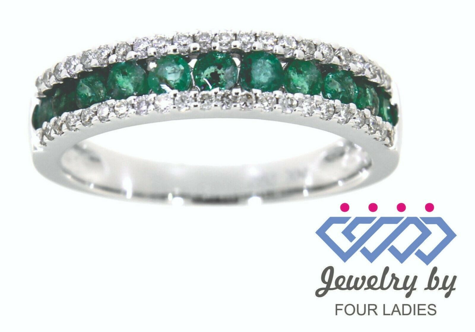 Primary image for Emerald Round Gemstone 14K White Gold 0.55CT Diamond Band Fine Jewelry For Her