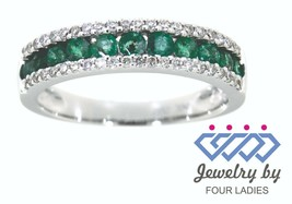 Emerald Round Gemstone 14K White Gold 0.55CT Diamond Band Fine Jewelry F... - $2,100.00