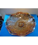 Indiana glass marigold carnival glass diamond pattern serving bowl. - $15.00