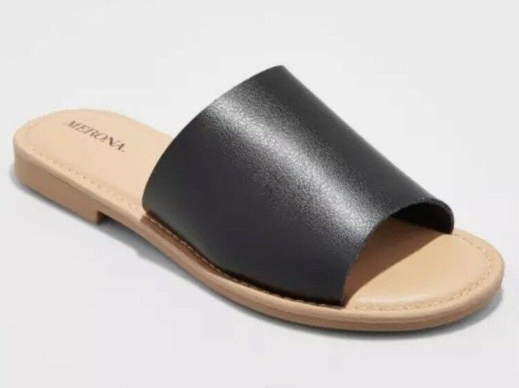 Brand New MERONA Women's Black Mardi Slides Sandals Flats