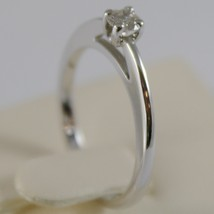 18K WHITE GOLD SOLITAIRE WEDDING BAND STYLIZED RING DIAMOND 0.20 MADE IN ITALY image 2