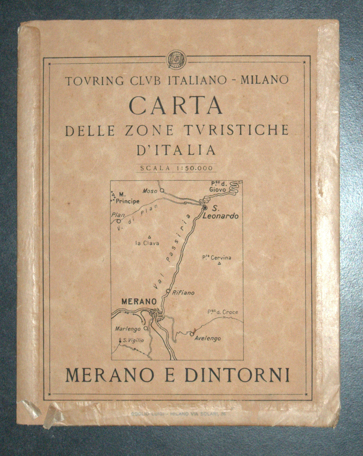 Antique 1930s North Italy Map TCI Carta Merano & Surroundings South Tirol Alpine