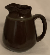 """Vtg Fransiscan Earthenware Pitcher Madeira 6.75"""" tall brown with Green Stripe - $20.59"""