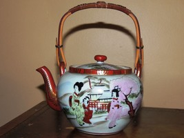 """Japanese Porcelain 5"""" Teapot Tea Giesha Mimosa Tree Mount Fuji Vintage A... - $49.99"""