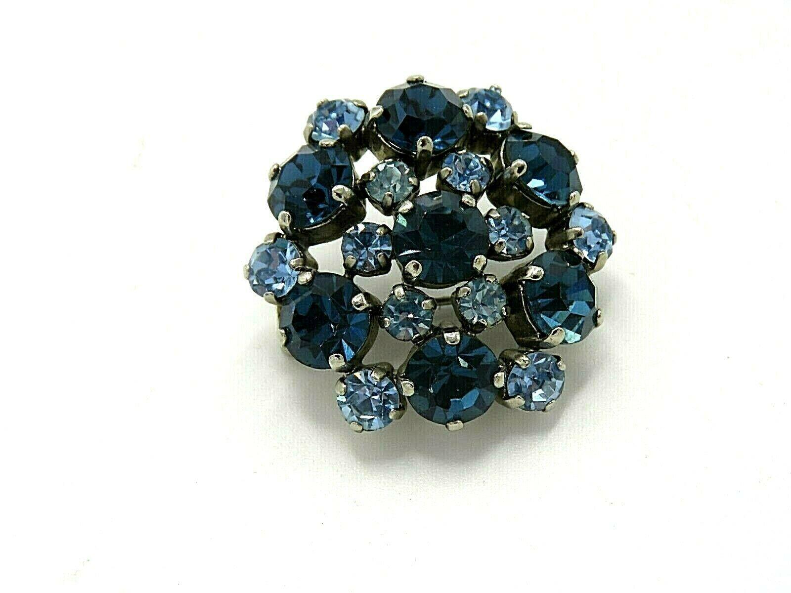 Vintage Blue and Purple Rhinestone Pinback Brooch - $29.95