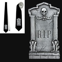 necktie  tombstone black RIP R.I.P.  death doom end  tietie - $22.00