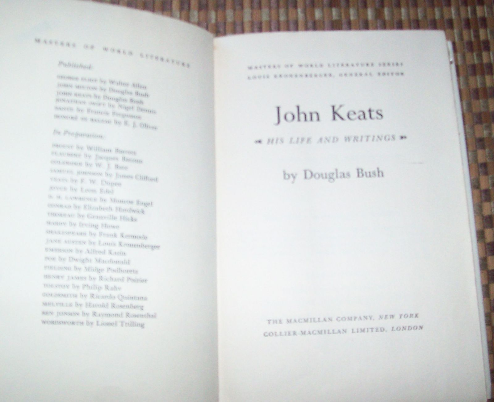 John Keats His Life and Writings by Douglas Bush 1966 HBDJ