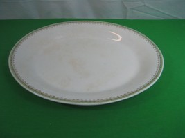 Vintage Trenle China Co Virginia Large Oval Platter Green and Gold Border - $17.77