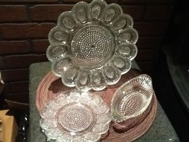Hobnail Egg/Relish Platter w/Relish Plate & Boat Indiana Glass Co - $22.85