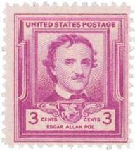 1949 Edgar Allan Poe US Postage Stamp Catalog Number 986 MNH