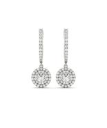 Luxury Drop Ear 925 Sterling Silver Women Halo Drop Earring 1 Carat - $64.99