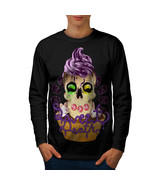 Sweet Death Cupcake Tee Candy Skull Men Long Sleeve T-shirt - $14.99