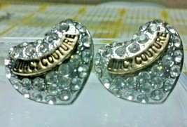 "Vintage Jewelry: 3/4"" Juicy Couture RhinestoneHeart Pierced  Earrings 02... - $12.86"