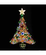 "LARGE Christmas Tree Brooch - 3 1/2 "" BIG Baguette Christmas tree - 100 ... - $95.00"