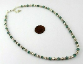 19 Gr Aquamarine Handmade Beaded Jewelry Necklace-398-8 - $6.78
