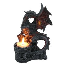PTC 6.75 Inch Perching Dragon Hand Painted Resin Candle Holder, Black - $32.48