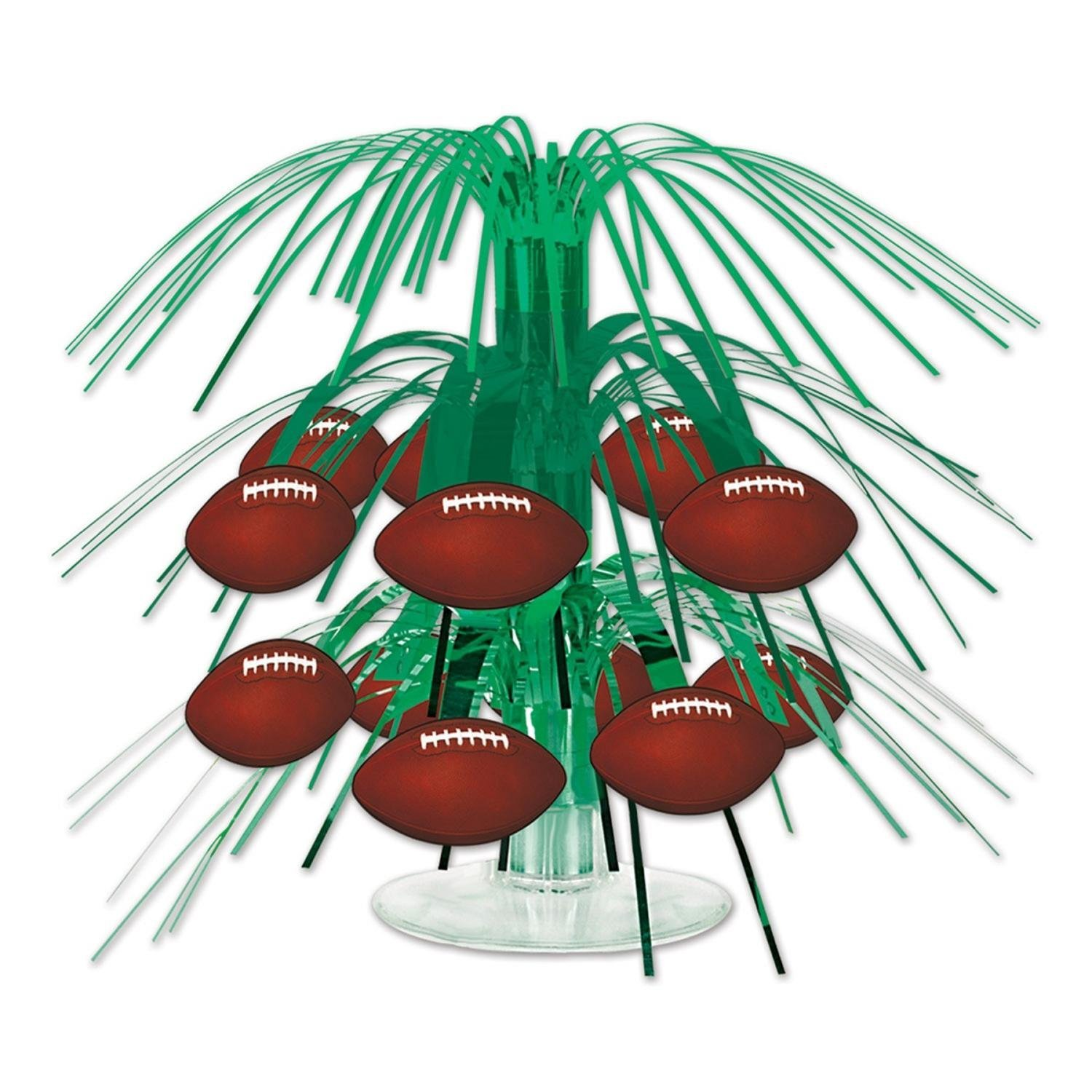 Club Pack of 12 Green and Brown Football Miniature Cascade Centerpieces Party De