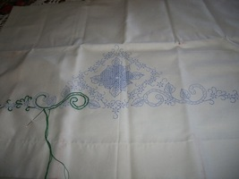 Stamped Cross Stitch Floral Linen Pillow Case - $10.00