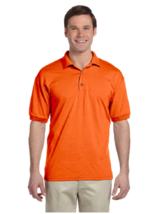 Gildan Dry Blend 50/50 Jersey Knit S/S Polo Shirt 5XL Bright Orange - $11.29