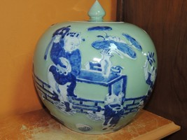 """Chinese 8.5"""" Jar with lid Celadon with raised Blue & White bat Antique 1... - $249.99"""