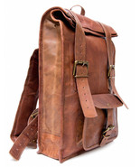 """New 100% Rustic Soft Leather 15"""" Brown Unisex Travel Rucksack Backpack S... - $57.55"""