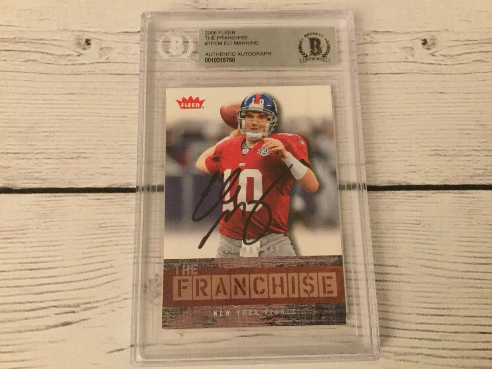 Eli Manning Signed Autographed 2006 Fleer The Franchise Card Beckett BAS COA a