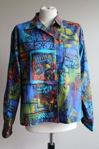 Chico's 1 (M 8) Multicolor Art To Wear Poly Button Front Top - $30.40