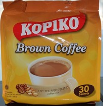 Kopiko Instant 3 in 1 Brown Coffee Mix with Creamer and Sugar 30 Count Per Bag