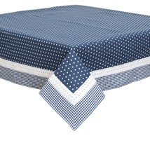 "BLUE WHITE STARS GINGHAM LACE 100% COTTON 100CM - 39"" SQUARE TABLE CLOTH - $45.46"