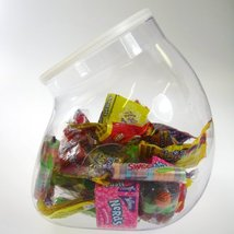 94 fl. oz. Clear Flattened Globes PVC Storage Container, 6 x 7 in. One Case - $55.99
