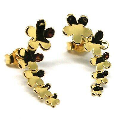 Boucles D'Oreilles Pendantes or Jaune 18K, Fila de Fleurs, Marguerites, or 750,