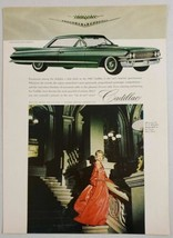 1961 Print Ad Cadillac 2-Door Car with White Wall Tires Lady in Gown - $9.28