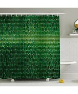 Shower Curtain Green Pixel Squares Print 30747 - $34.60