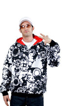 Dissizit Fixed Gear Graphic Cycling Zip Up Hoodie in Black and White NWT