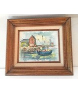Harbor Lighthouse Fishing Boat Oil On Canvas Painting By A. Simpson Framed - $102.13