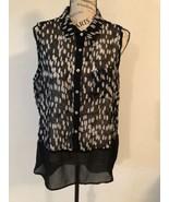STATUS BY CHENAULT Women's Black White Tan Sheer Chiffon Top Sleeveless ... - $0.98