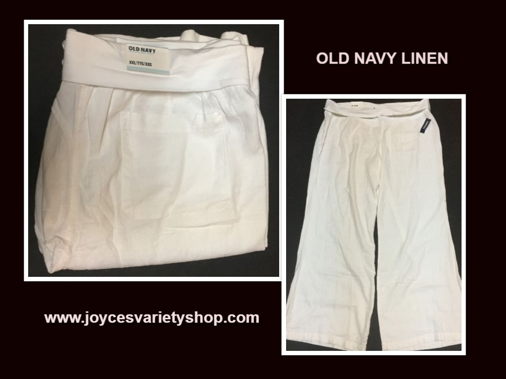 Old navy white linen pants web collage
