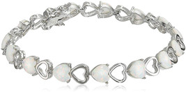 Sterling Silver Created Opal Open Heart Tennis Bracelet, 7.25' - $238.86