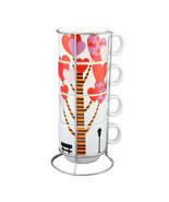 Stackable Ceramic Coffee Mugs with Chrome Rack Expresso Tea Hot Beverage... - $39.23+