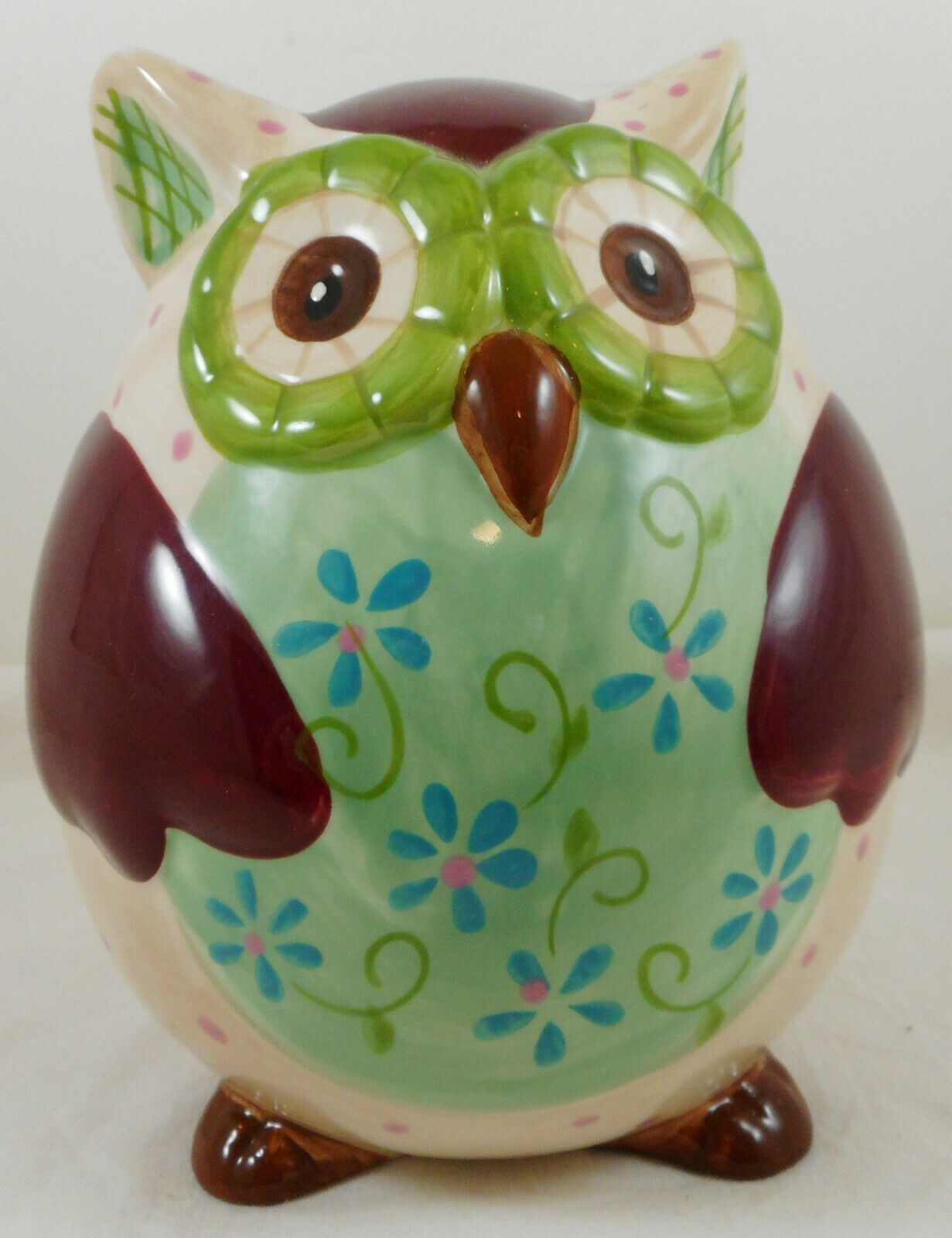 "Ceramic Owl Bank Multi Floral 7"" Whimsical Bird Figurine Piggy Coin"