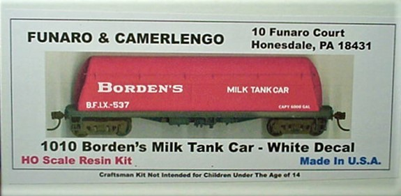 Funaro & Camerlengo HO Borden's Milk Tank Car , with white decals, kit 1010