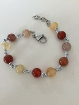 Bracelet the Aluminium Long 21 Inch with Pink Quartz Chalcedony and Pearl - $32.67