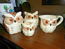 1979 1989 SET OF 4 ENESCO BROWN & CREAM OWLS NAPKIN TOOTHPICK CREAM & SUGAR - $24.74