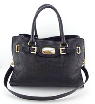 MICHAEL KORS Large HAMILTON Black Alligator Print Leather Satchel Should... - $139.00